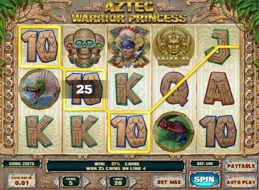 Выигрышная комбинация в Aztec Warrior Princess
