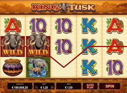 Призовая комбинация на линии в King Tusk